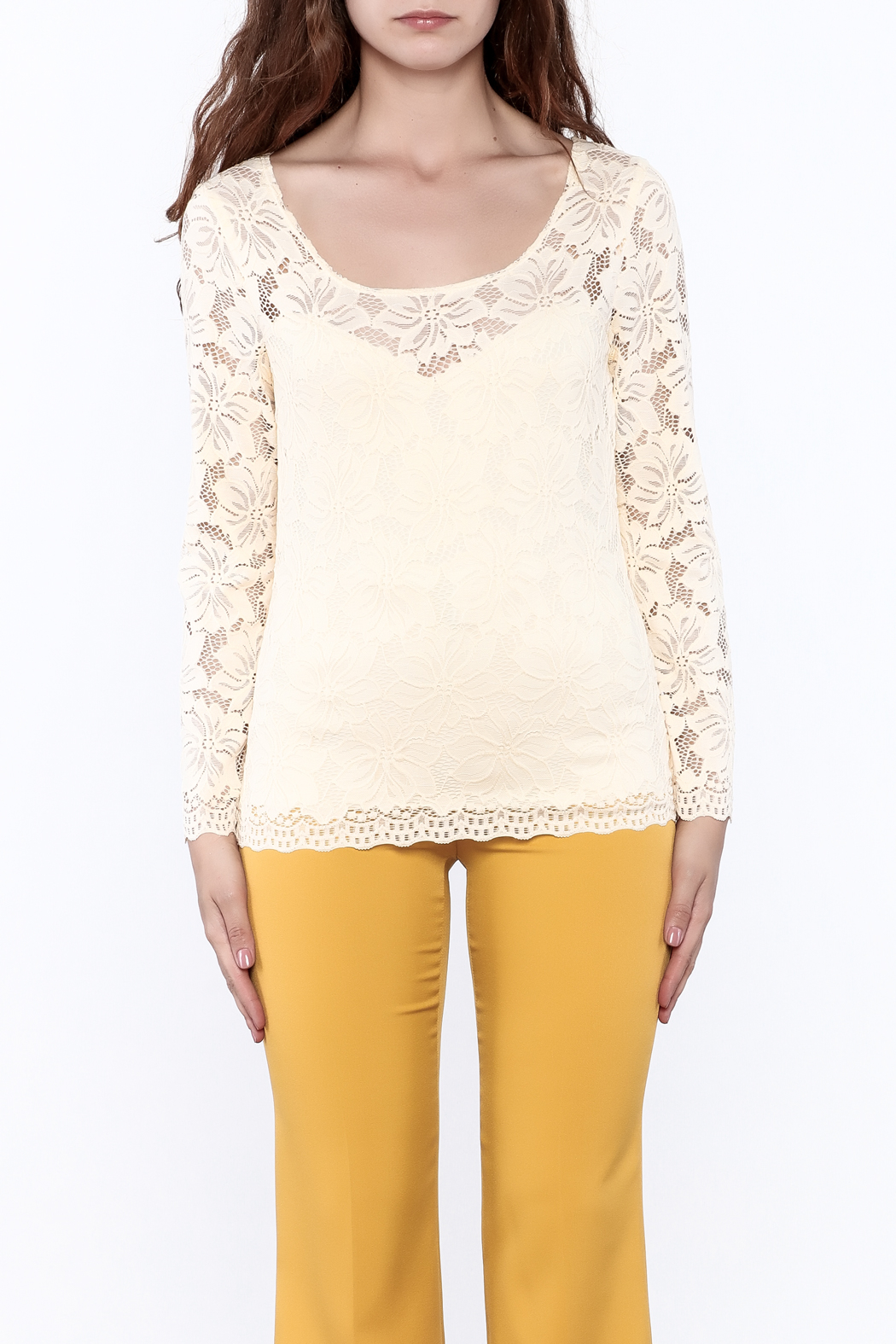 Sharon Max Ivory Lace Top - Side Cropped Image