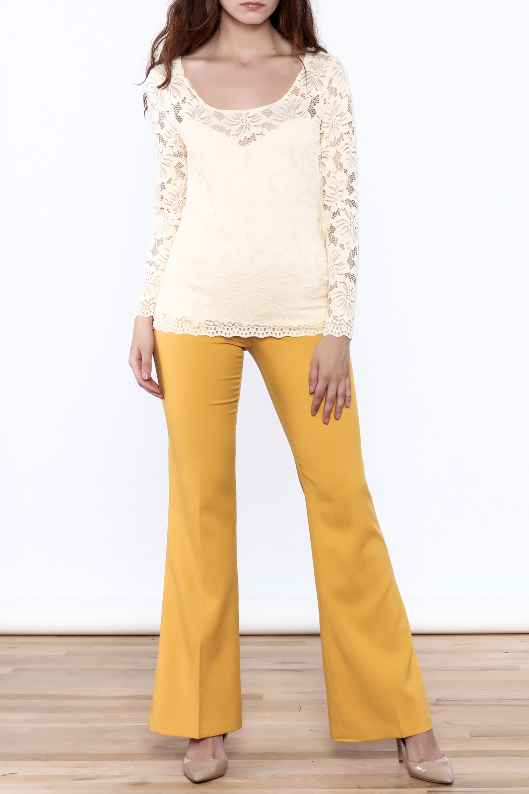 Sharon Max Ivory Lace Top - Front Full Image
