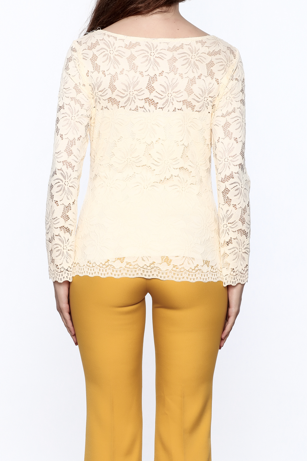 Sharon Max Ivory Lace Top - Back Cropped Image