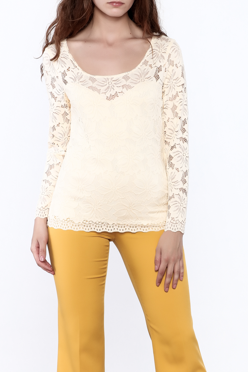 Sharon Max Ivory Lace Top - Front Cropped Image
