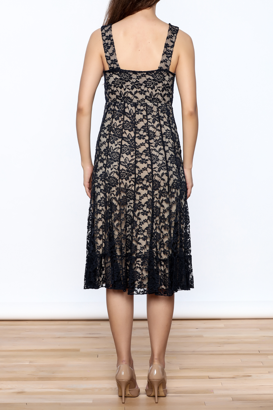 Sharon Max Navy Lace Midi Dress - Back Cropped Image