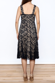 Sharon Max Navy Lace Midi Dress - Back cropped