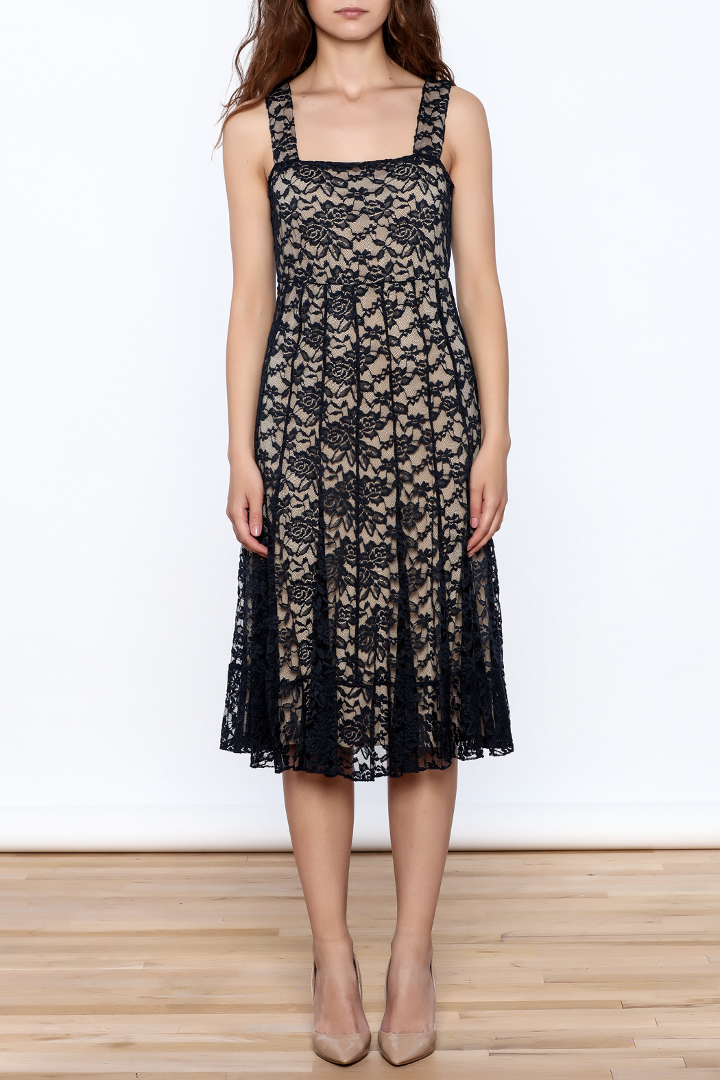 Sharon Max Navy Lace Midi Dress - Front Cropped Image