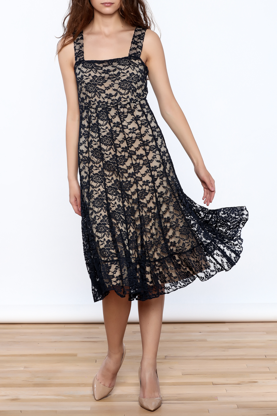 Sharon Max Navy Lace Midi Dress - Main Image