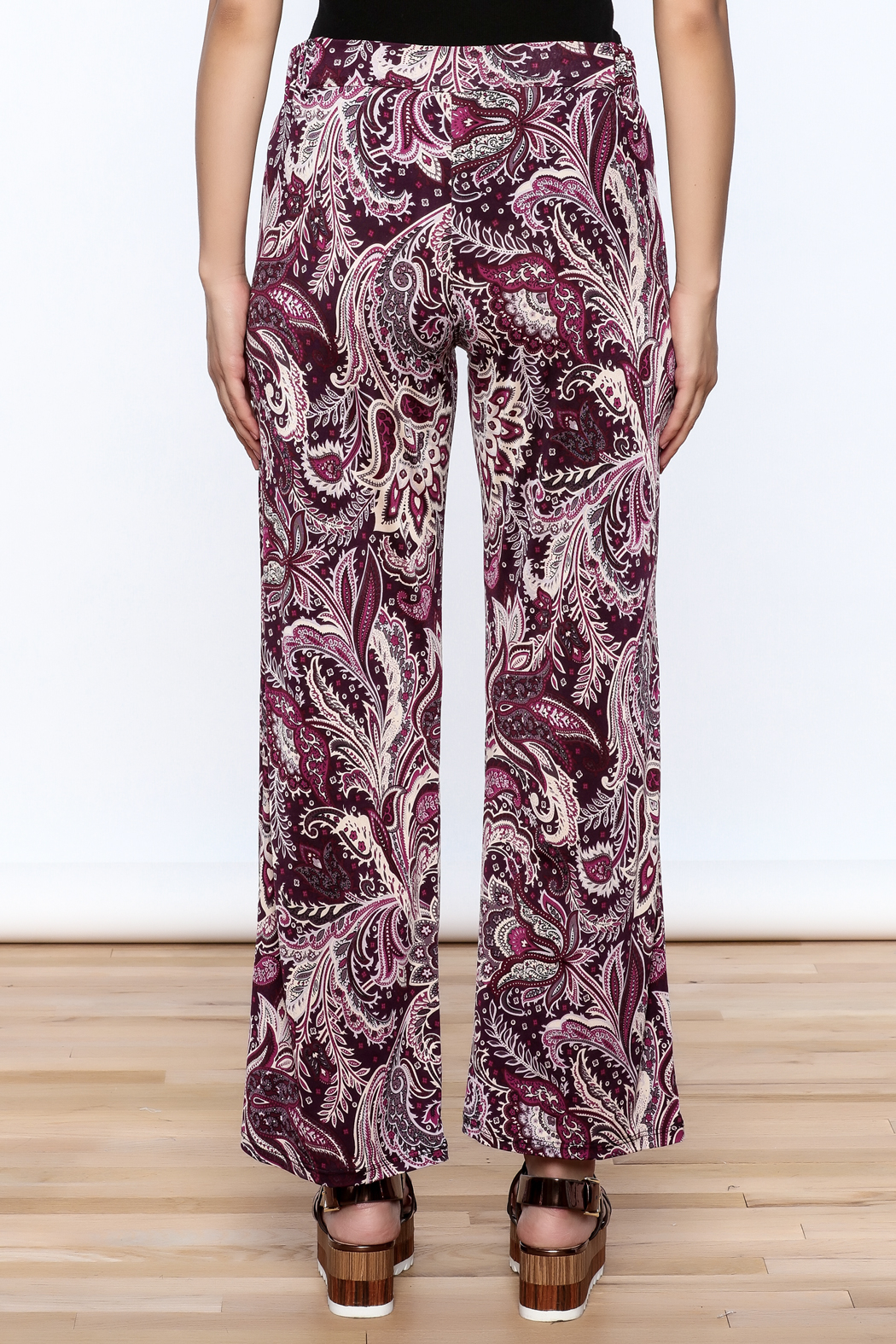 Sharon Max Purple Printed Palazzo Pant - Back Cropped Image