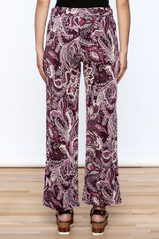 Sharon Max Purple Printed Palazzo Pant - Back cropped