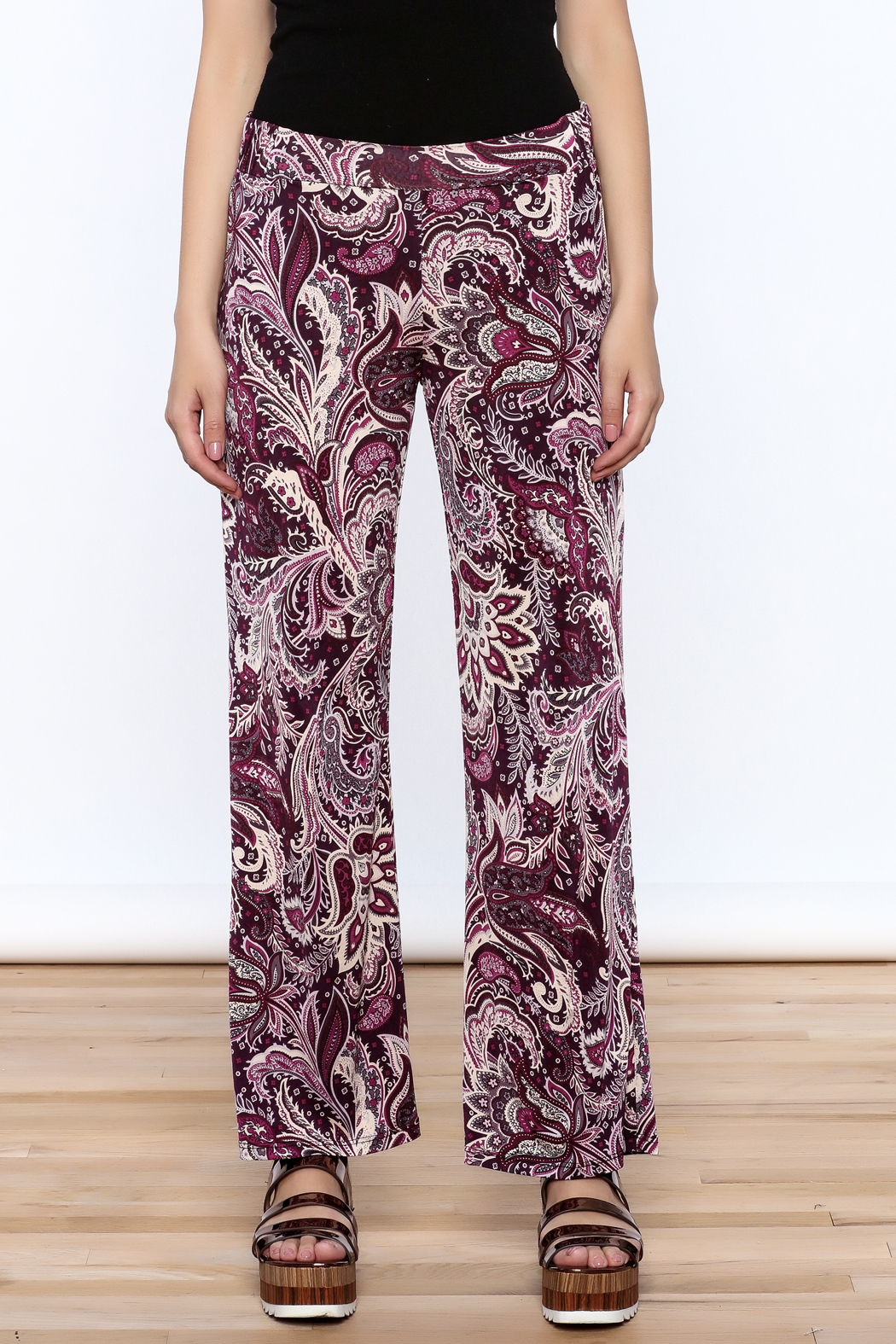 Sharon Max Purple Printed Palazzo Pant - Side Cropped Image