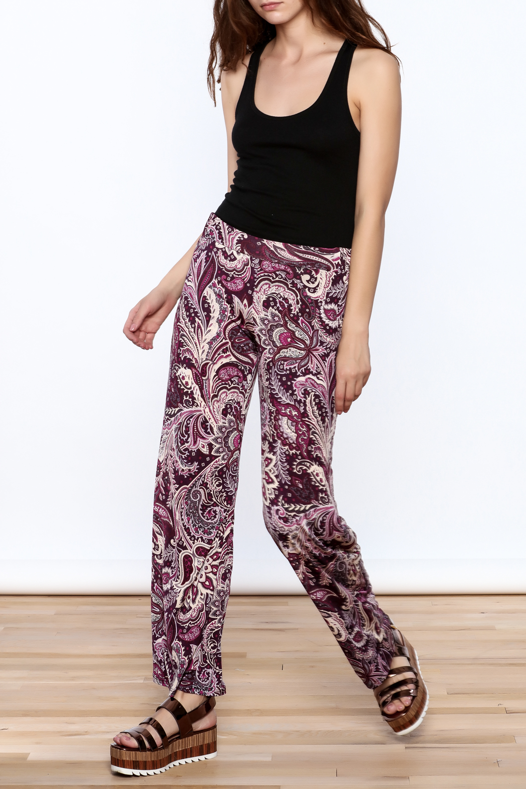 Sharon Max Purple Printed Palazzo Pant - Front Full Image