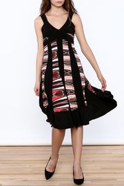 Sharon Max Black Printed Midi Dress - Front full body