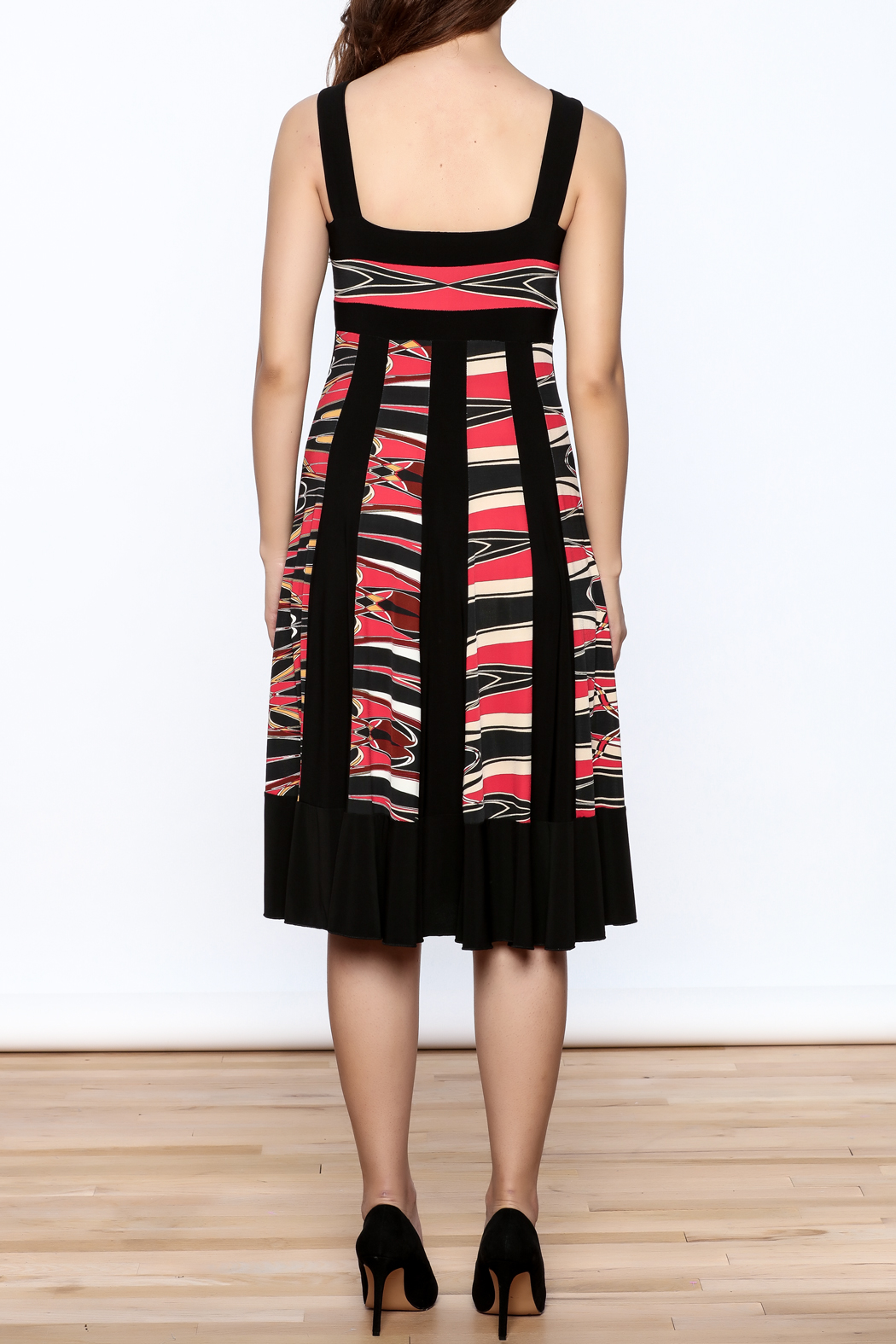 Sharon Max Black Printed Midi Dress - Back Cropped Image