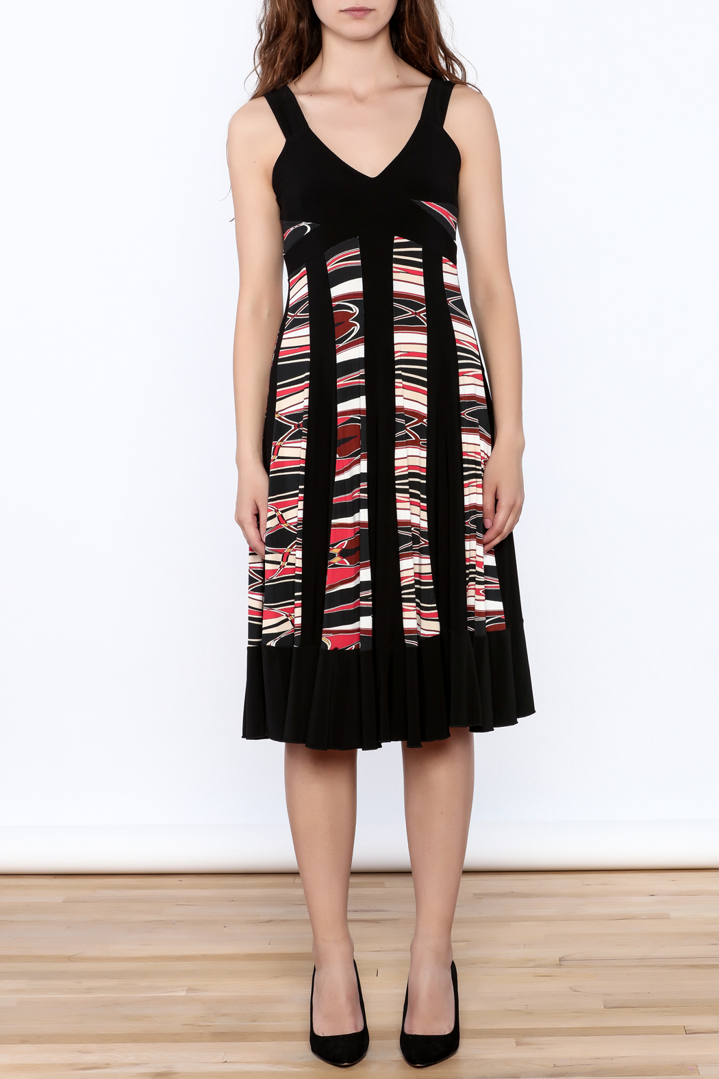 Sharon Max Black Printed Midi Dress - Front Cropped Image