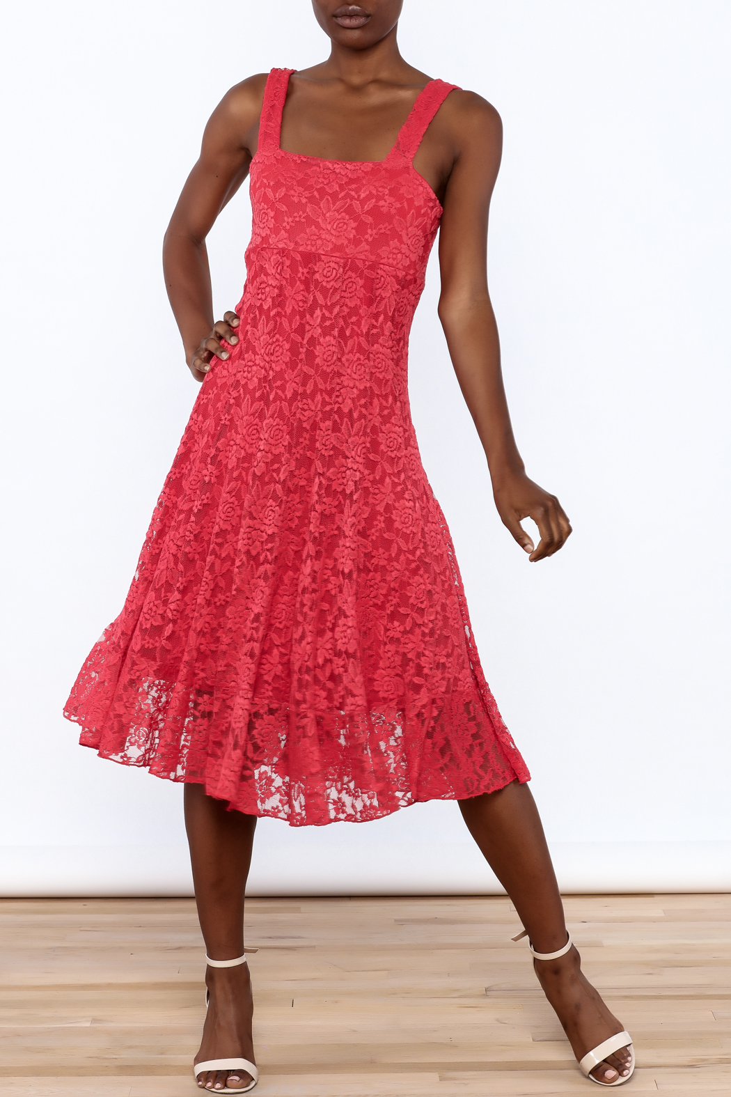 Sharon Max Red Lace Midi Dress - Front Full Image
