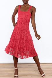 Sharon Max Red Lace Midi Dress - Front full body