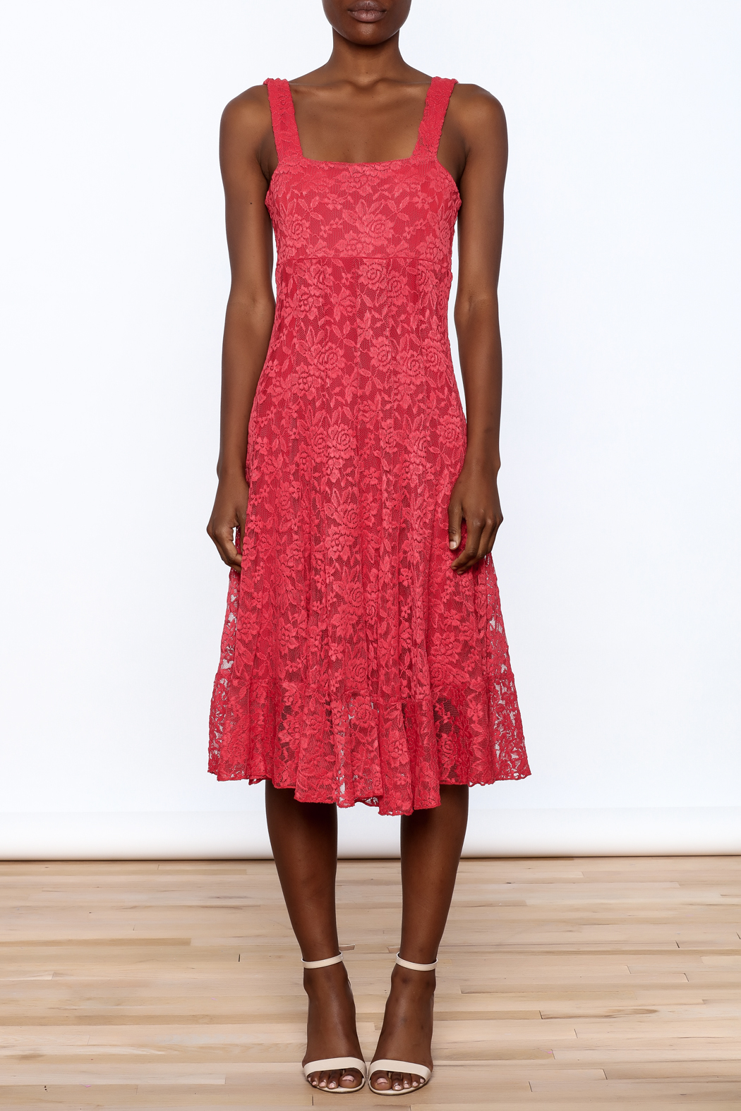 Sharon Max Red Lace Midi Dress - Front Cropped Image