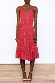 Sharon Max Red Lace Midi Dress - Front cropped