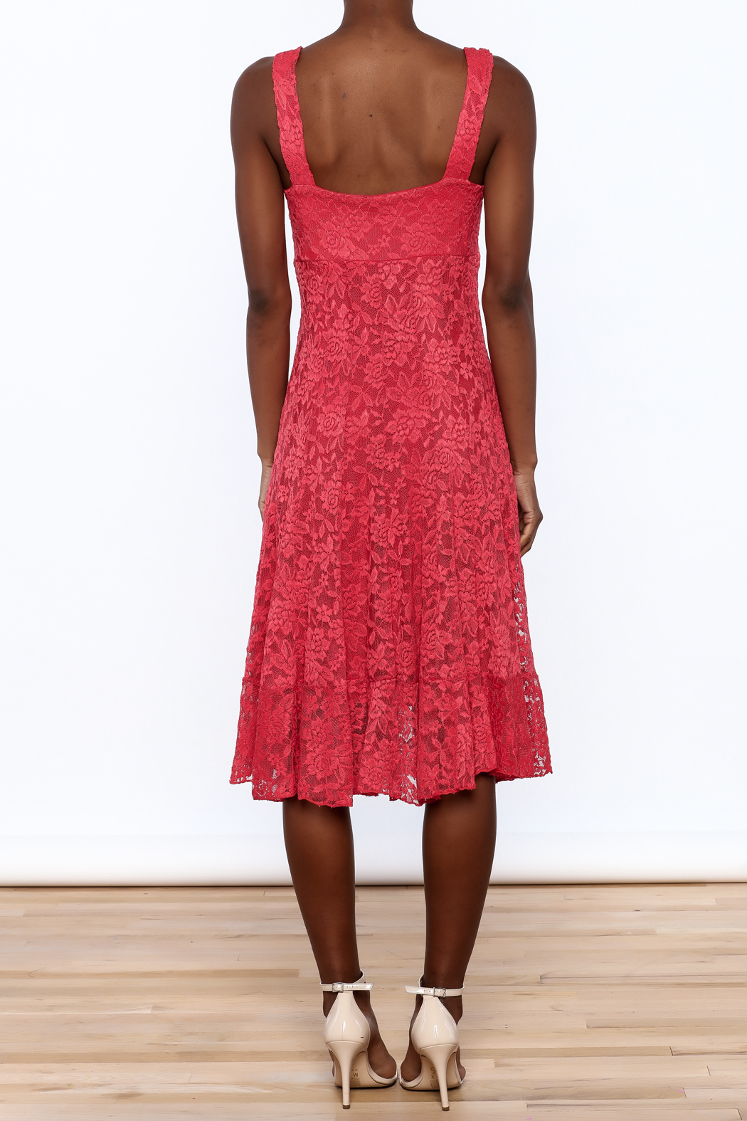 Sharon Max Red Lace Midi Dress - Back Cropped Image