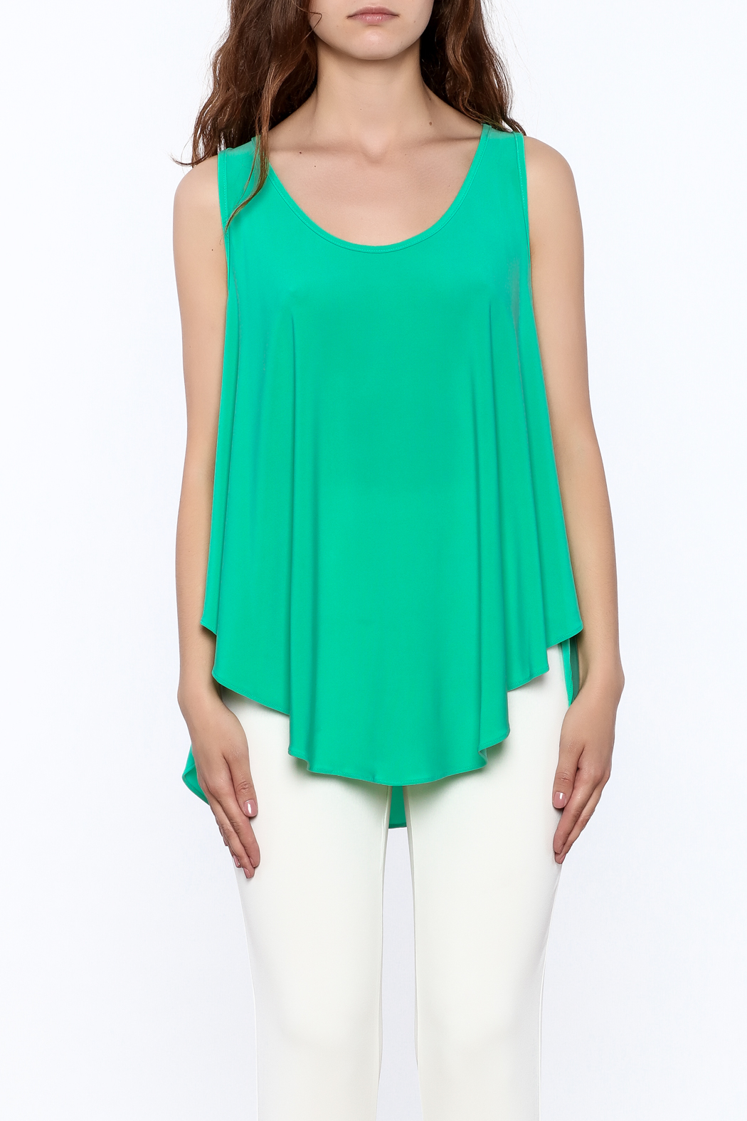 Sharon Max Green Sleeveless Swing Top - Side Cropped Image