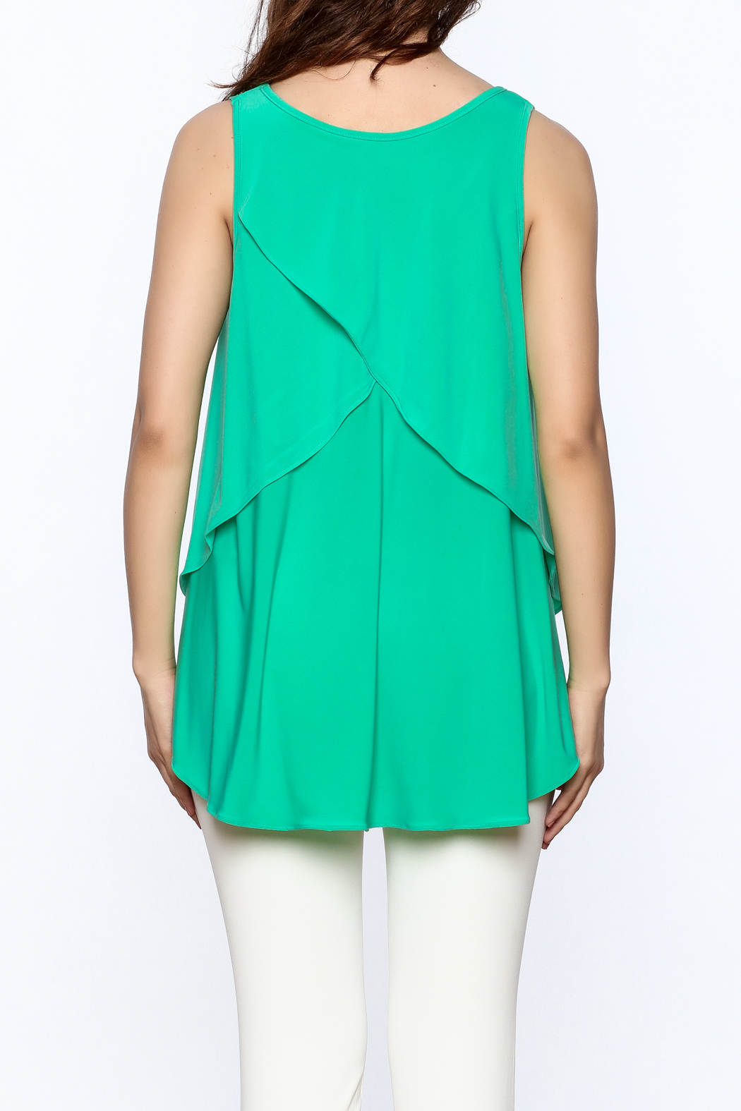Sharon Max Green Sleeveless Swing Top - Back Cropped Image