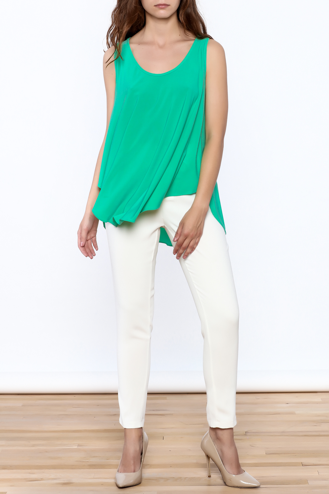 Sharon Max Green Sleeveless Swing Top - Front Full Image