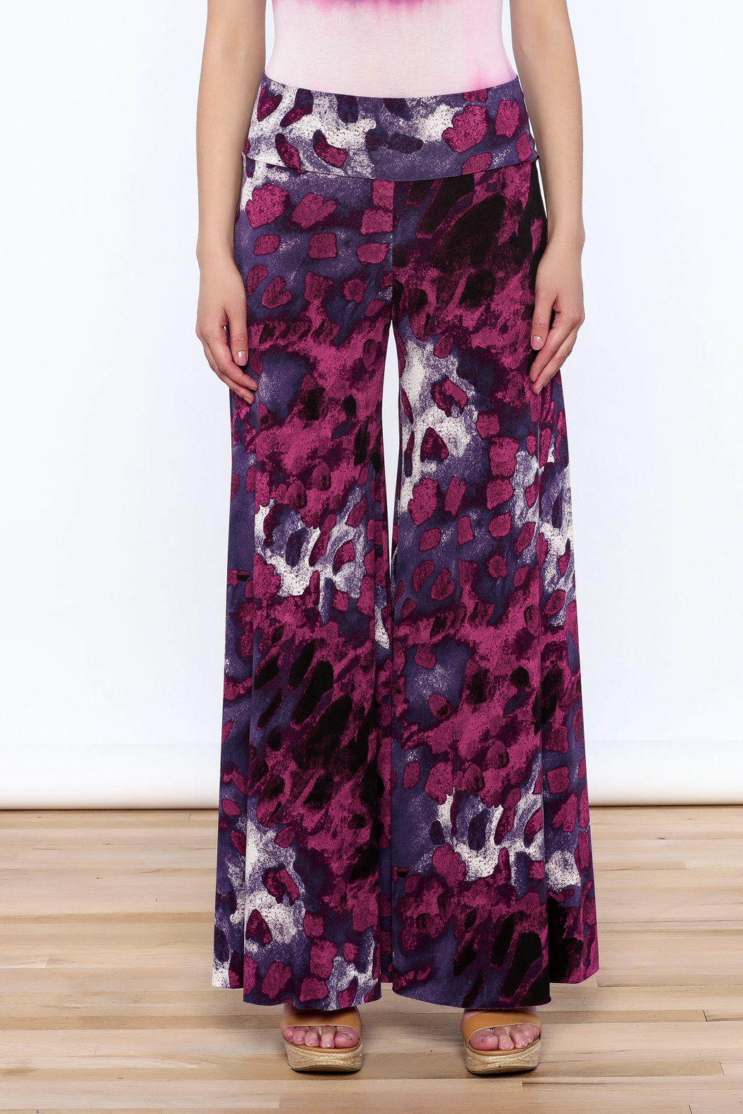 Sharon Max Purple Wide Leg Pants - Side Cropped Image