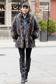 Fabulous Furs Shawl Collar Coat Spotted - Side cropped