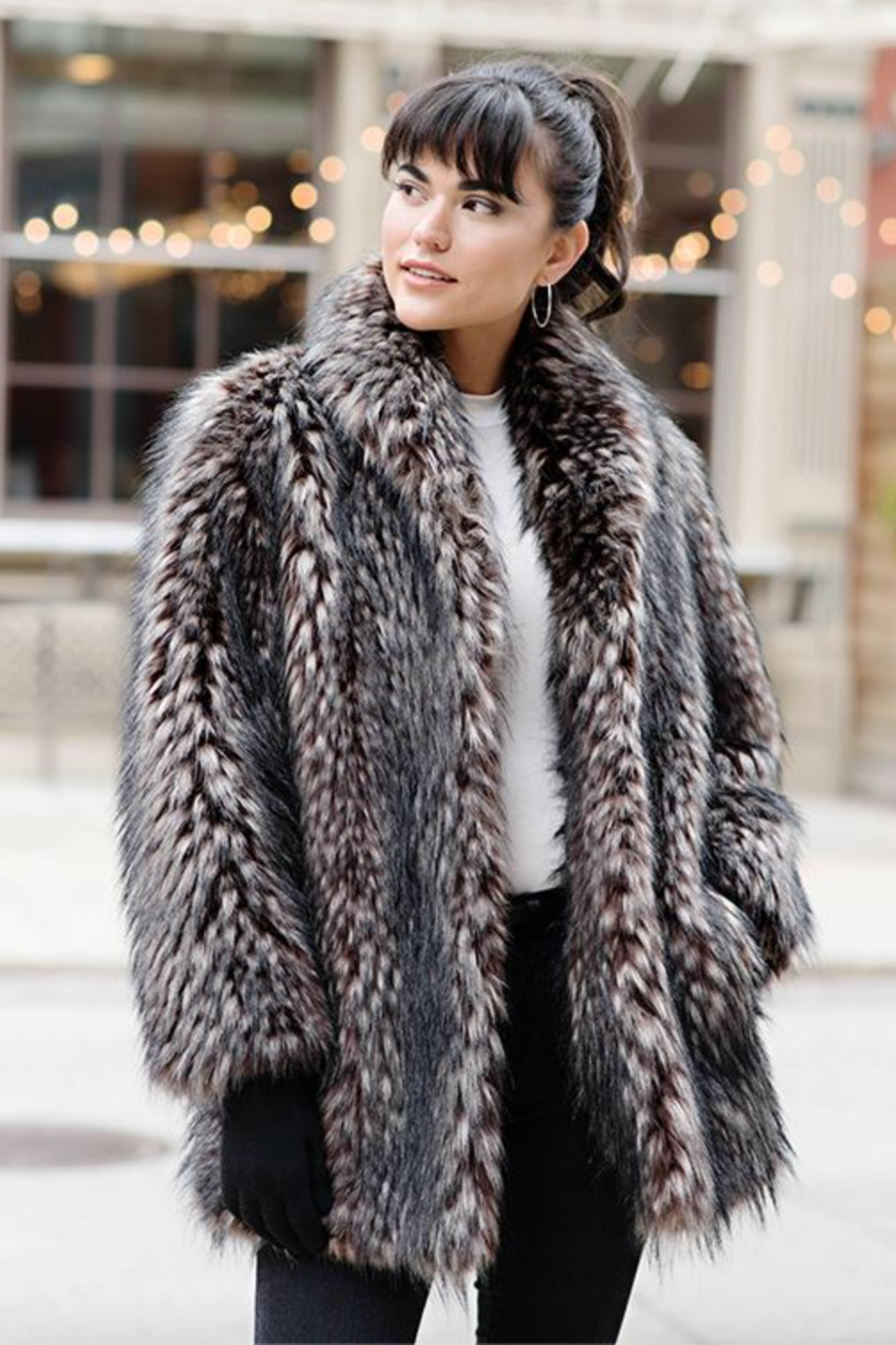 Fabulous Furs Shawl Collar Coat Spotted - Front Full Image