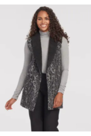 Tribal  Shawl Collar Print Vest - Front cropped