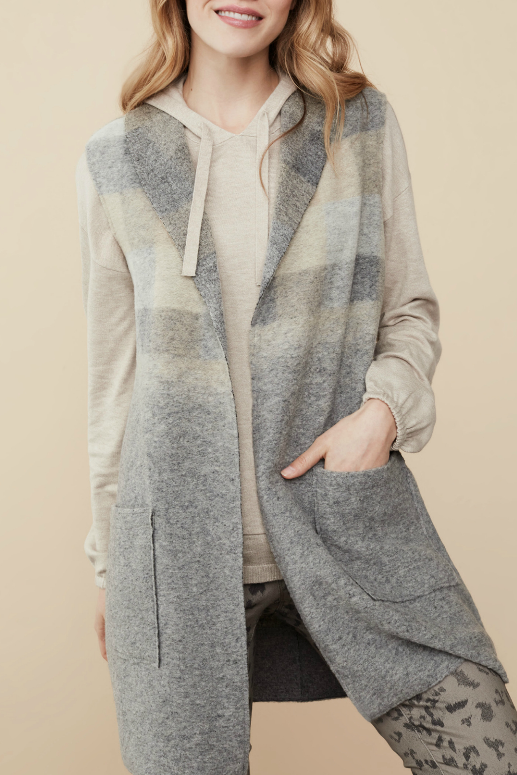 Tribal Shawl collar vest with pockets - Main Image