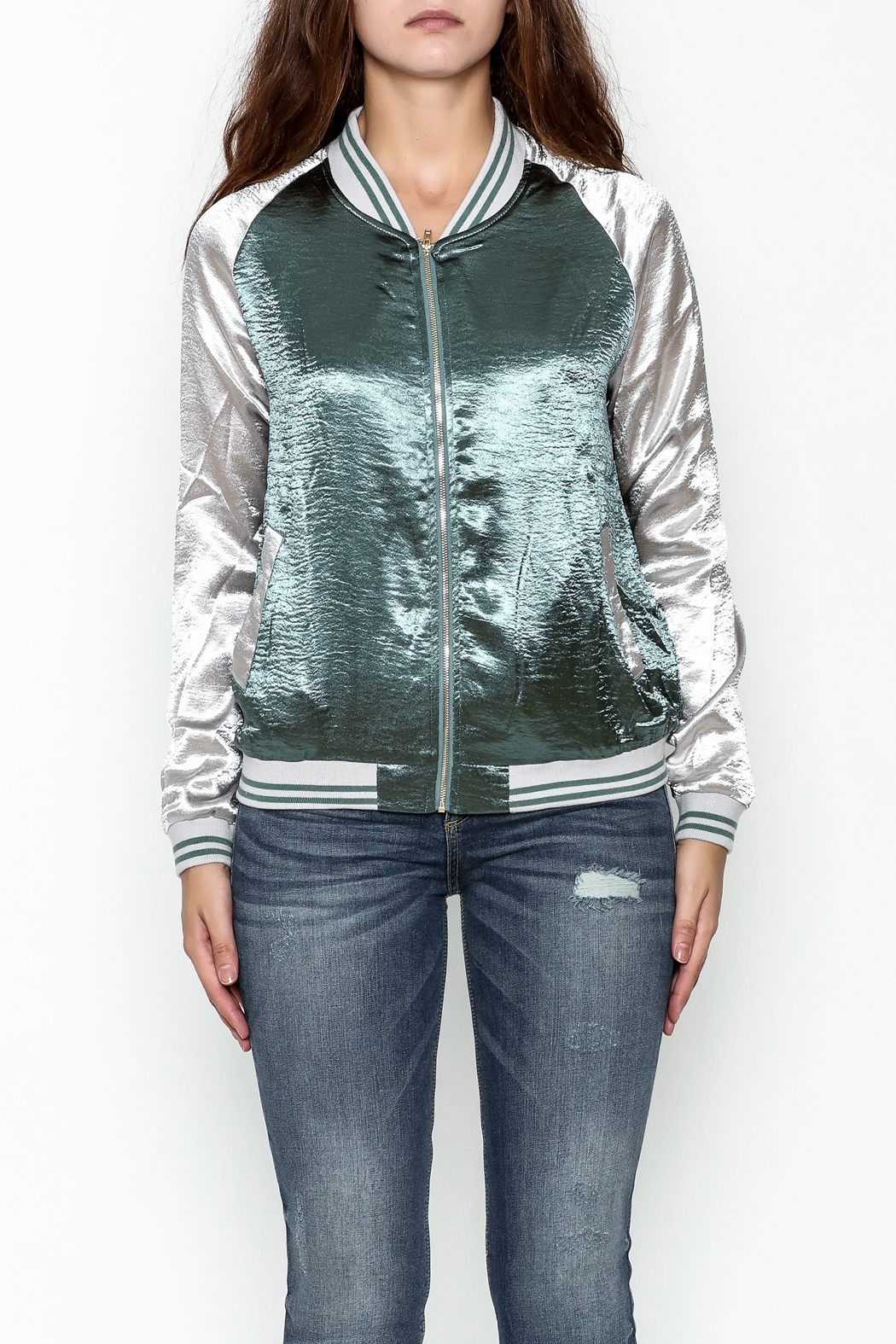 She + Sky Ashton Bomber Jacket - Front Full Image