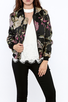Shoptiques Product: Black Embroidered Bomber Jacket