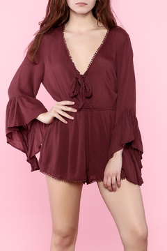 Shoptiques Product: Burgundy Self Tie Romper