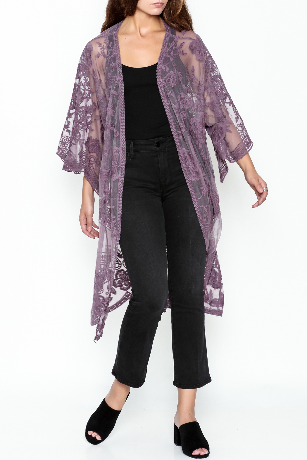 She + Sky Chloe Lace Duster - Front Cropped Image