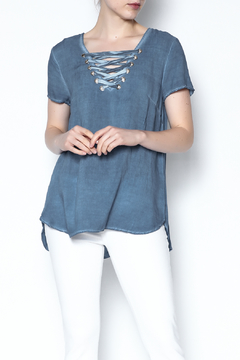 Shoptiques Product: Denim Lace Up Tee
