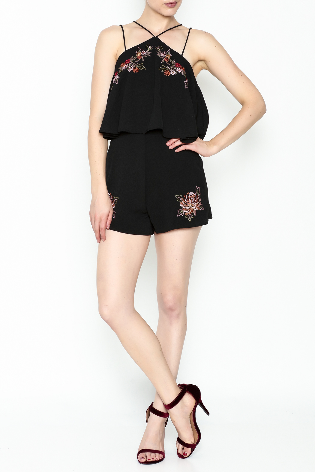 She + Sky Floral Embroidered Romper - Side Cropped Image