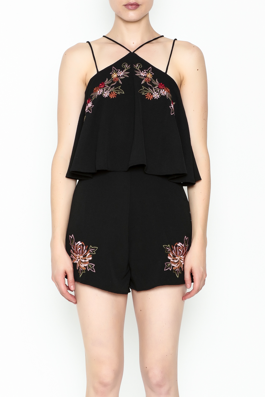 She + Sky Floral Embroidered Romper - Main Image
