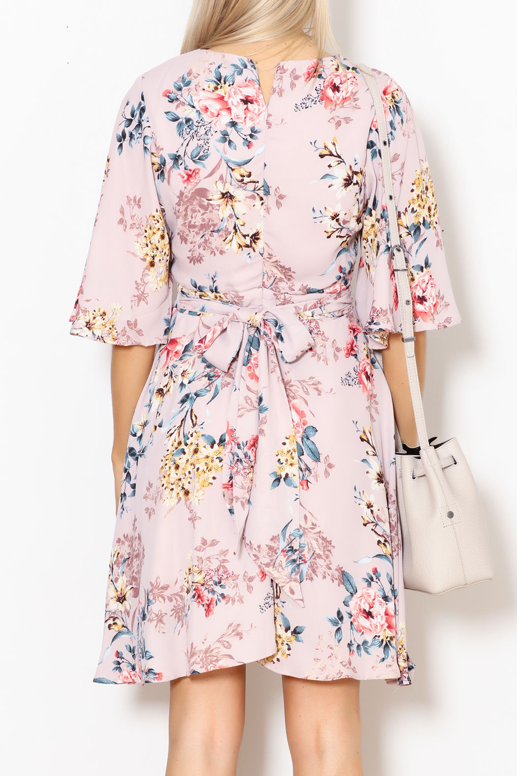 She + Sky Floral Print Dress - Back Cropped Image