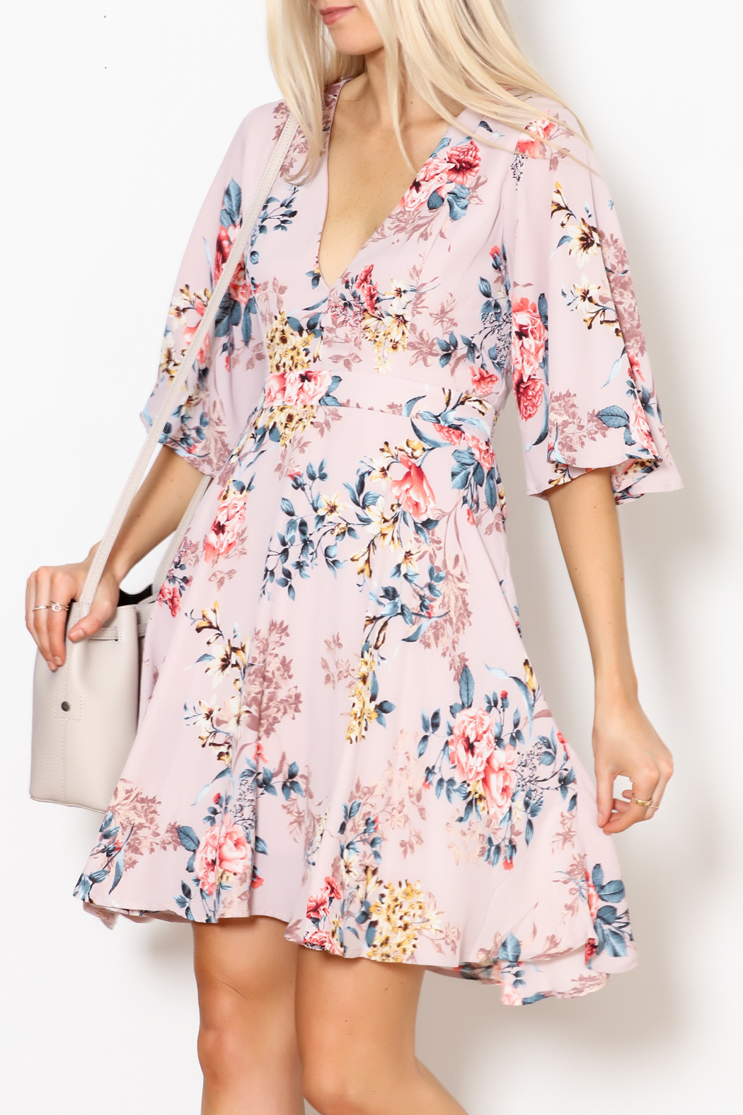 She + Sky Floral Print Dress - Front Full Image