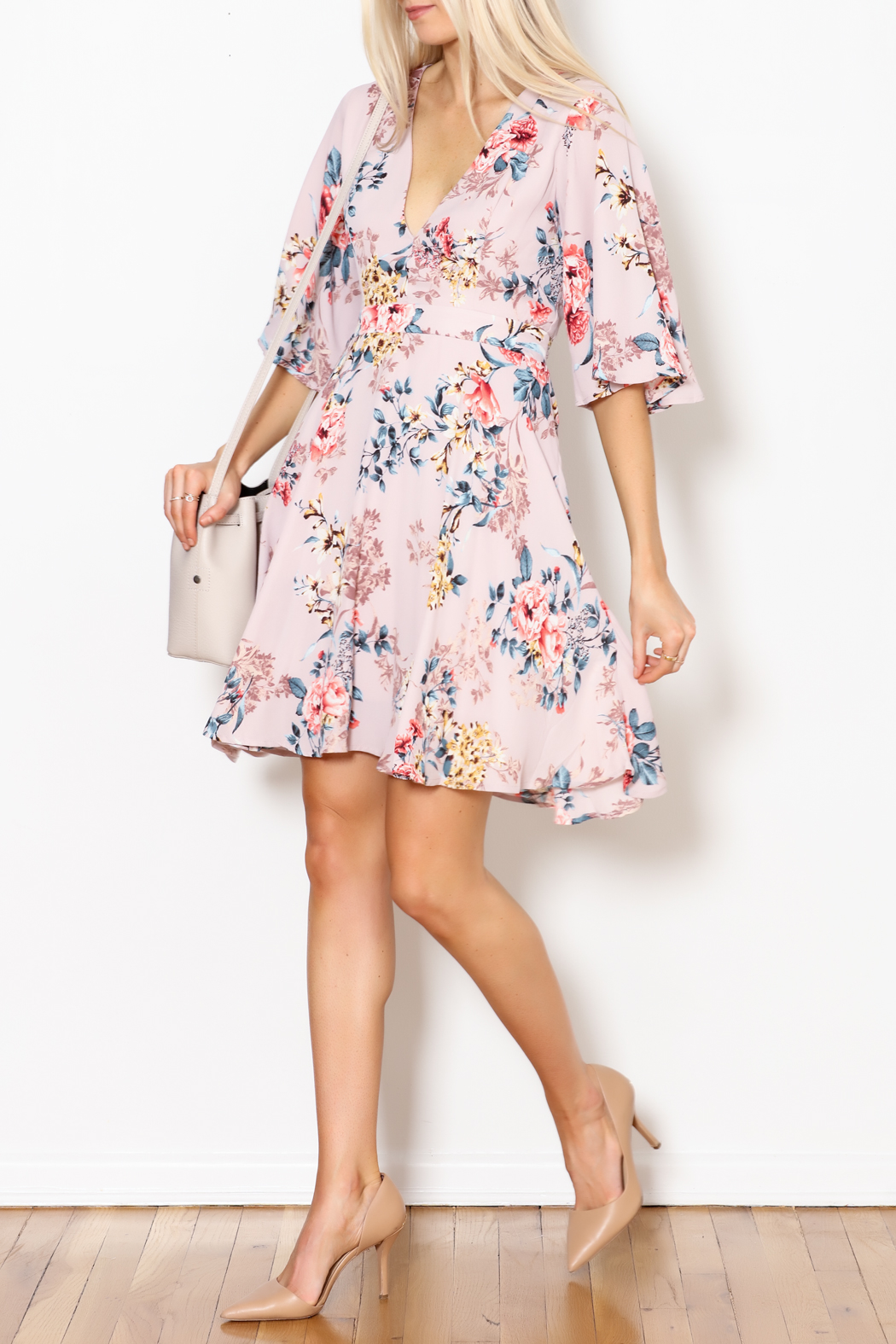 She + Sky Floral Print Dress - Side Cropped Image