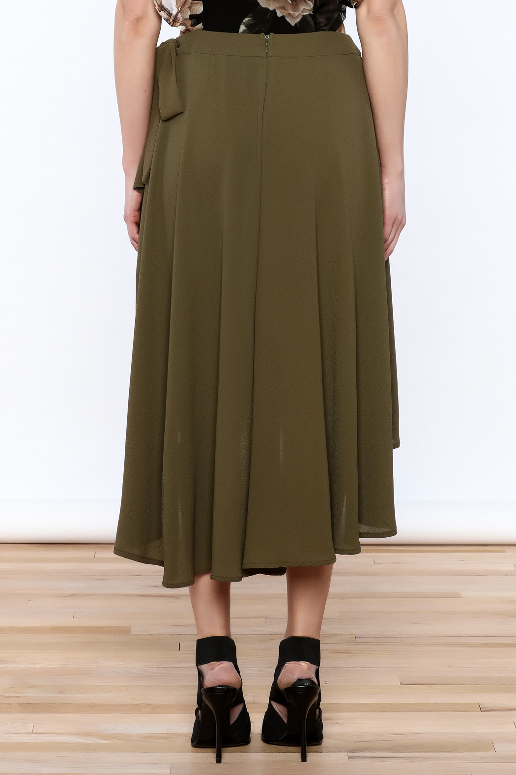 She + Sky Olive Green Midi Skirt - Back Cropped Image