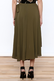 She + Sky Olive Green Midi Skirt - Back cropped