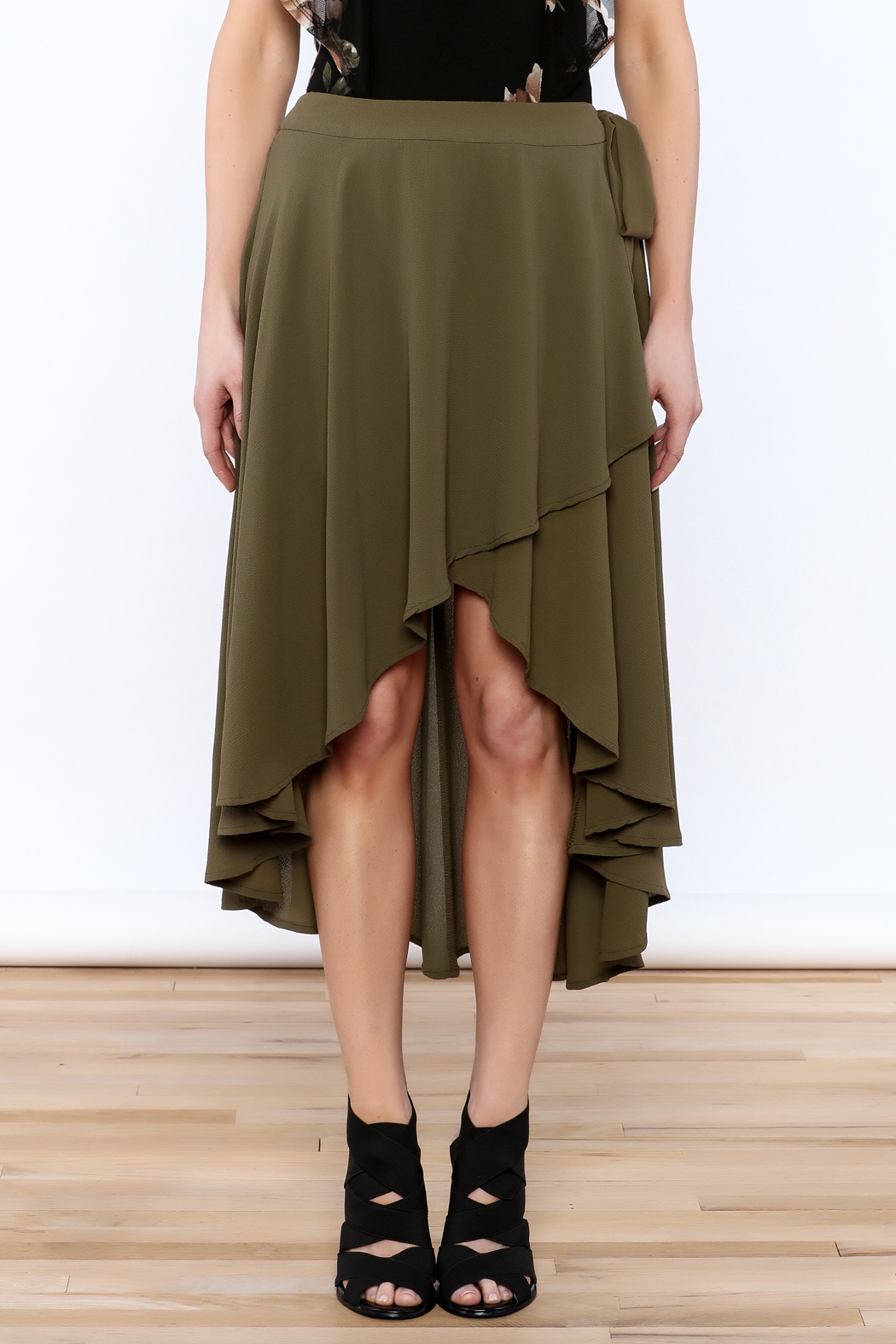 She + Sky Olive Green Midi Skirt - Side Cropped Image