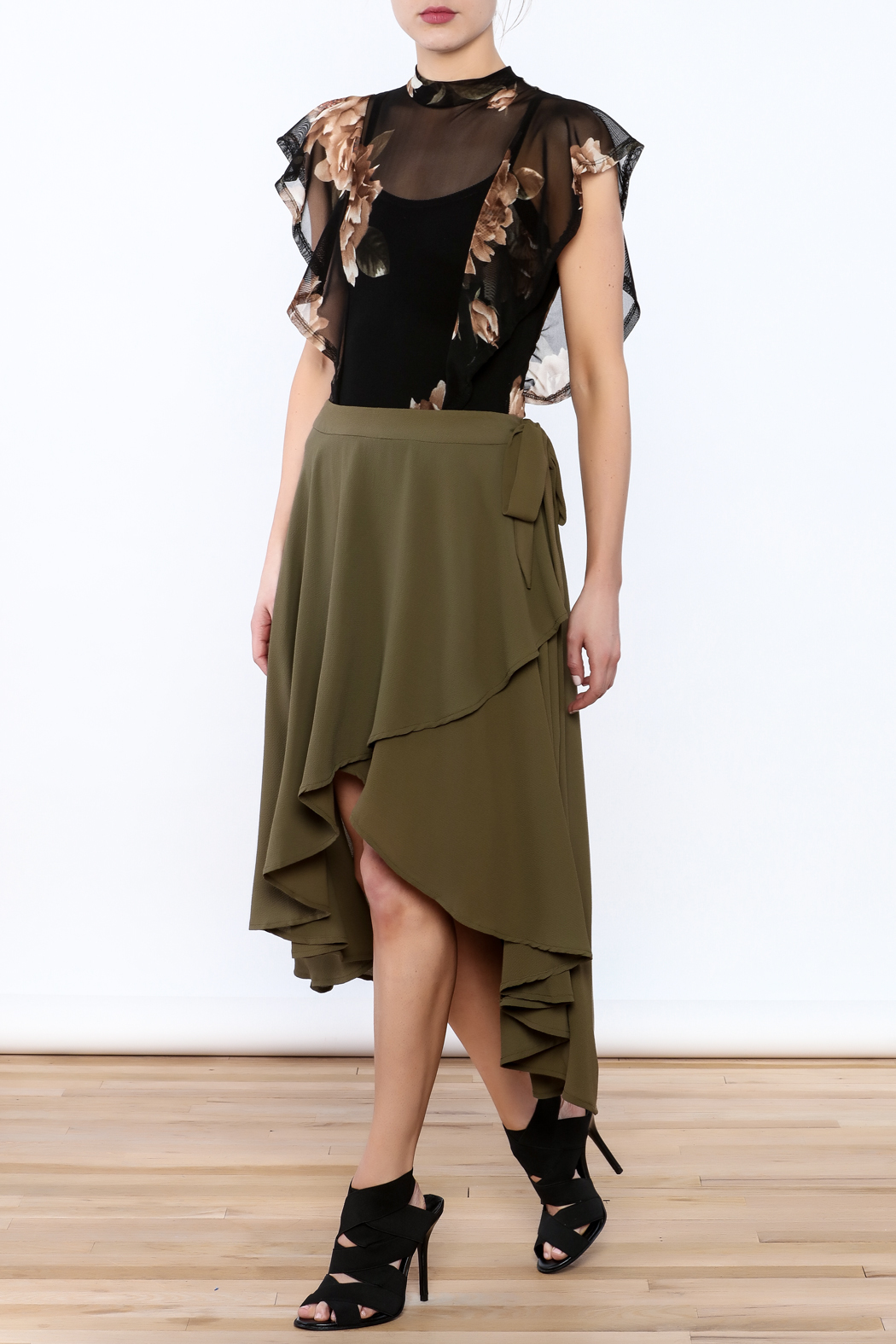She + Sky Olive Green Midi Skirt - Front Full Image