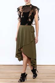 She + Sky Olive Green Midi Skirt - Front full body