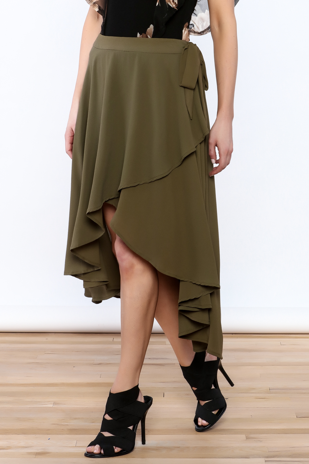 She + Sky Olive Green Midi Skirt - Front Cropped Image