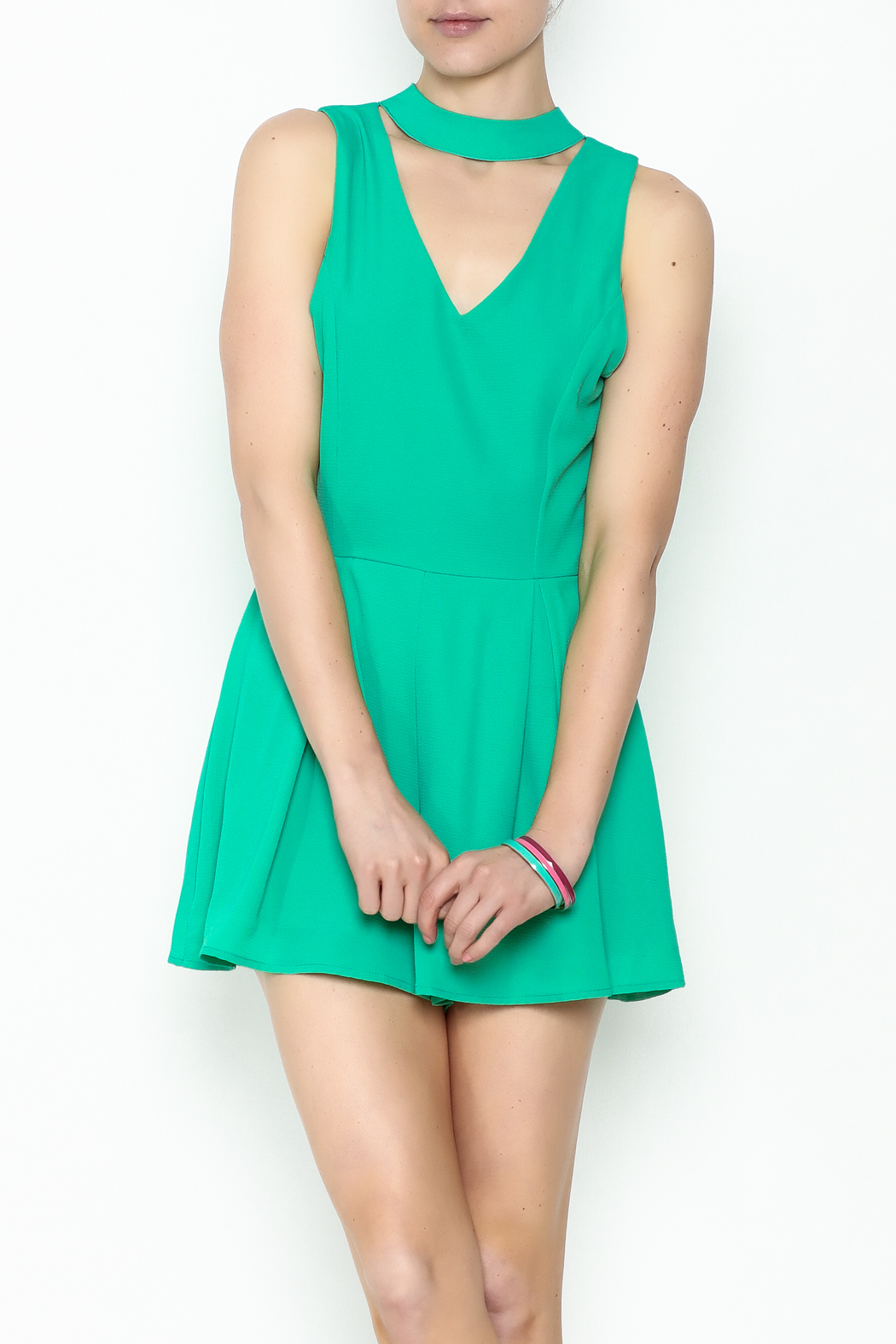 She + Sky Jade Romper - Front Cropped Image