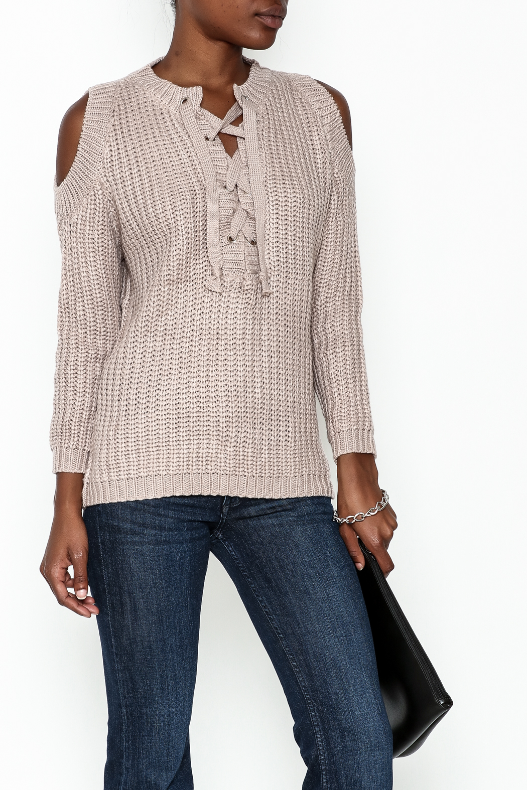 She + Sky Lace Up Sweater - Main Image