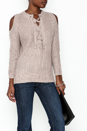 She + Sky Lace Up Sweater - Front cropped