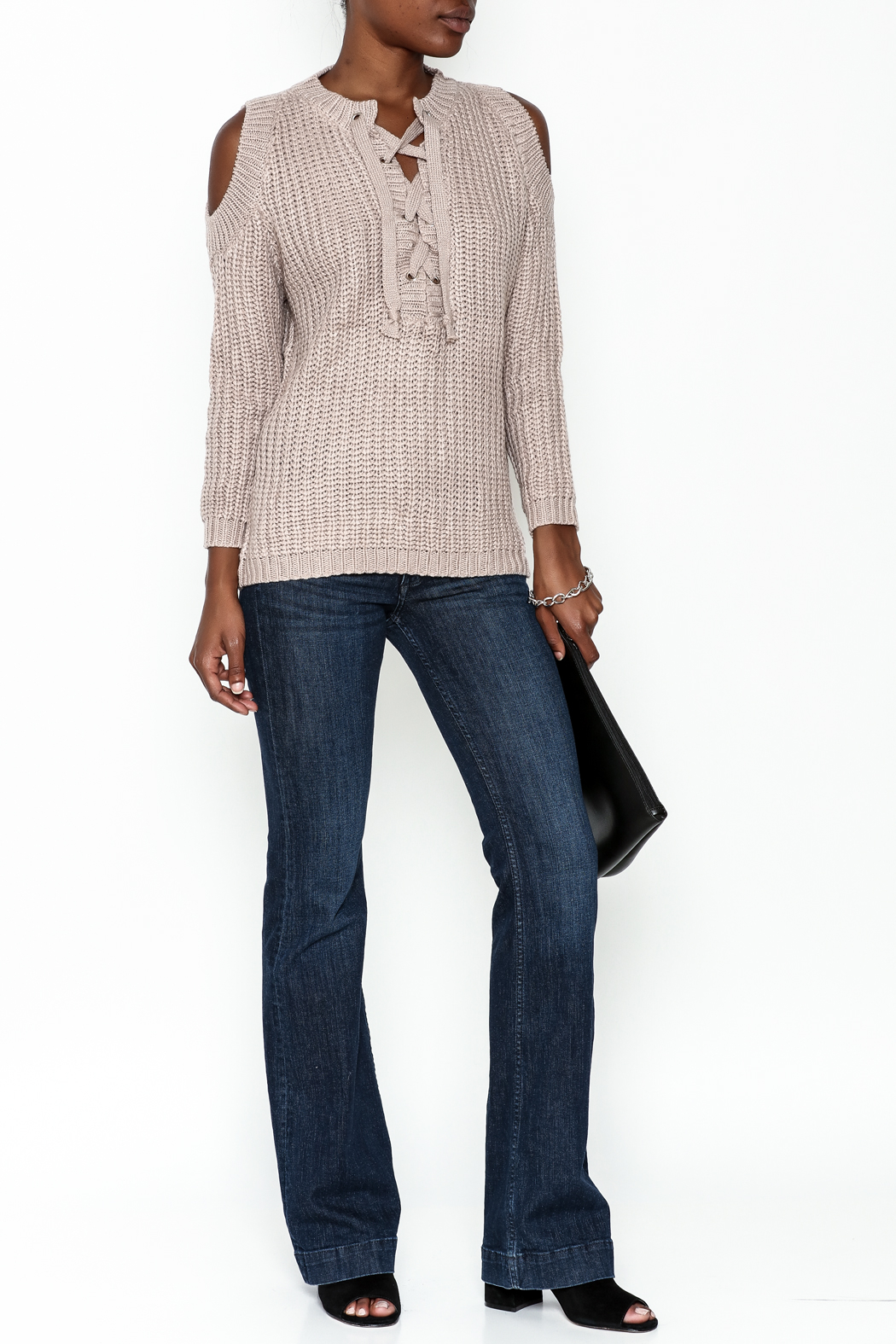 She + Sky Lace Up Sweater - Side Cropped Image