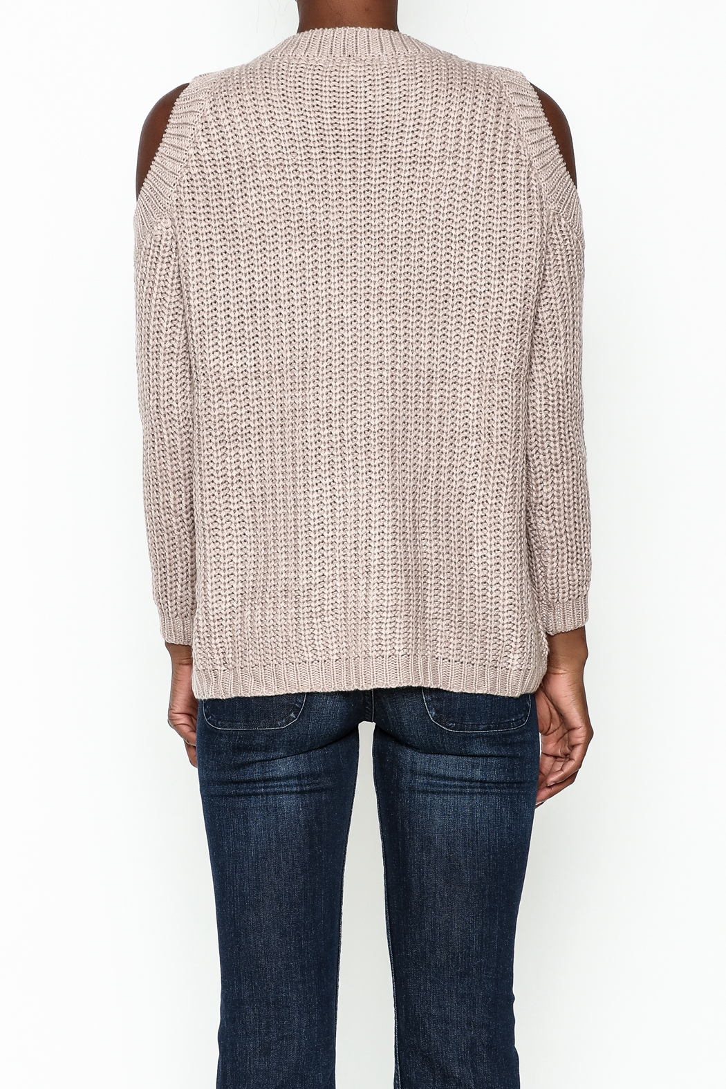 She + Sky Lace Up Sweater - Back Cropped Image