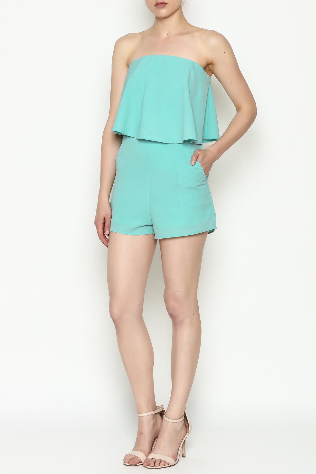 She + Sky Mint Strapless Romper - Side Cropped Image